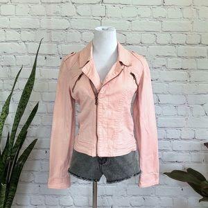 Sanctuary Blush Pink Asymmetrical Jean Jacket